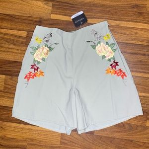 Topshop floral embroidered high waisted shorts